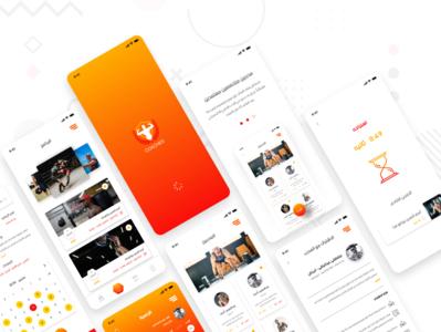 Coaches gym menu fitness sports bodybuilding ux sport home screen splash mobile intro app ui design