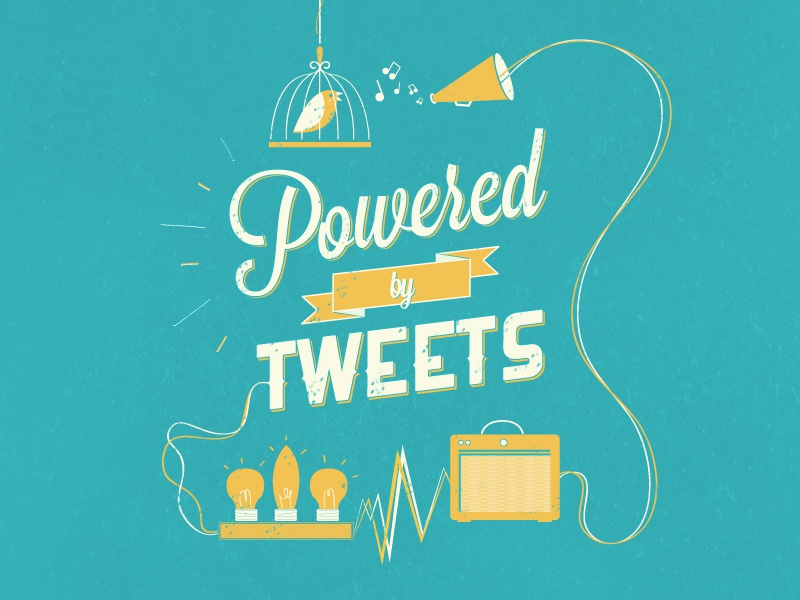Powered by tweets type typography vector bookcover yellow blue cream bird bulb cable