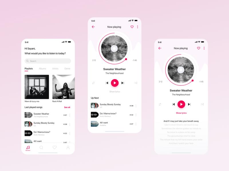 Music player - Mobile app design mobile app design ui ux adobexd