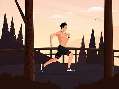 Running Illustration🏃🌄🏞️ running shoes running man travel natureart illustration run cycle marathon runner run althlete sports running