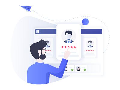 Tech Recruiter illustration tech company technical recruitment tech hiring coders developers shortlist hiring recruiter technical