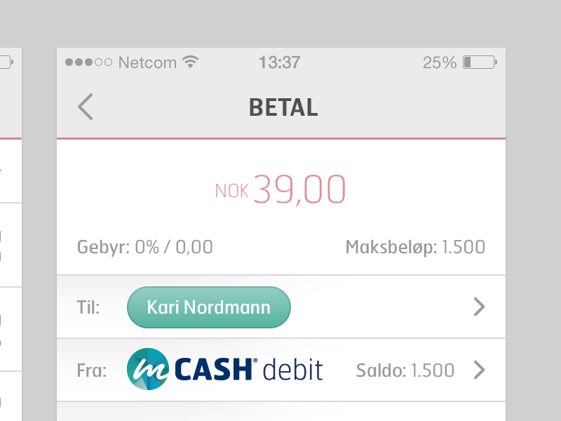 mCASH Payment to Person mcash payment payments ux ui