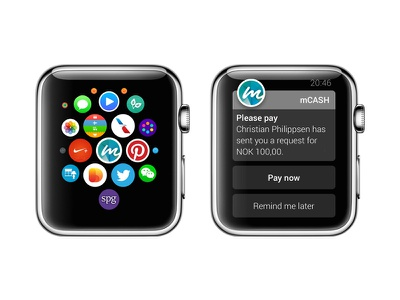 mCASH on Apple Watch ux ui payments payment iphone mcash apple watch watch