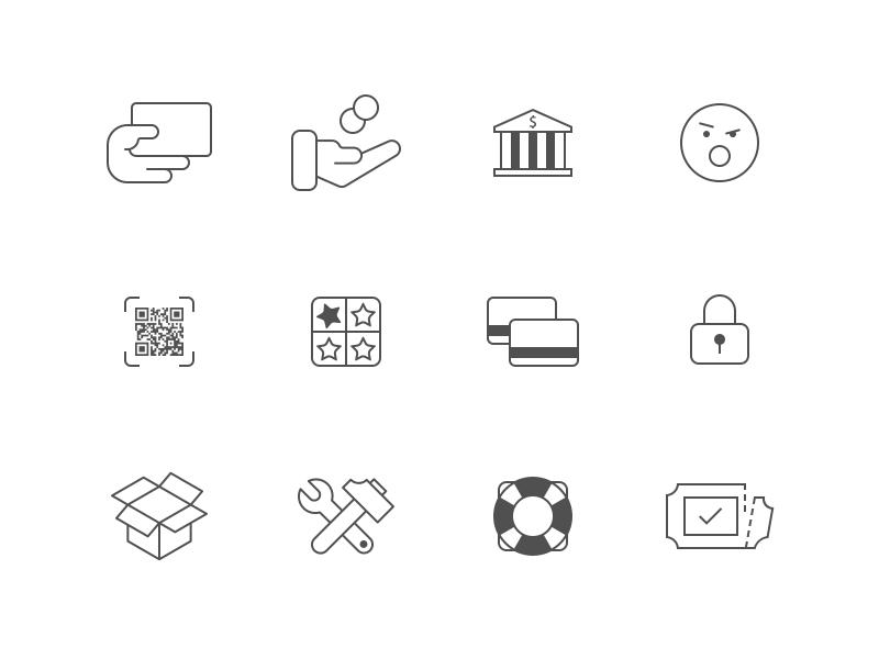 mCASH Icon Suite iconography icons app website symbol set mcash payments