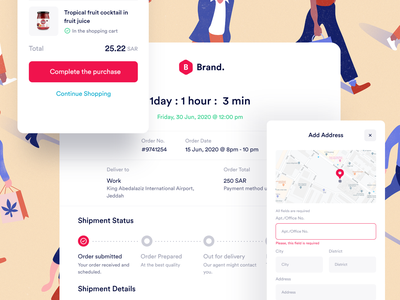 Web Delivery - Elements food shop details address shipping address invoice payment cart checkout clean minimal white design smooth white web ux components elements delivery ui