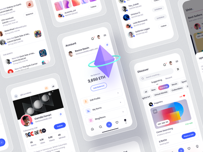 NFT Marketplace currency crypto coin eth application app ios mobile setting notification profile marketplace nft clean minimal white color design smooth white ux ui