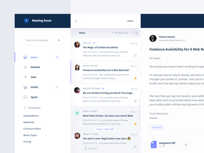 💬 Inbox - Rooms Booking website web design color system dashboard message clean minimal white chat room booking mail inbox smooth white ux ui