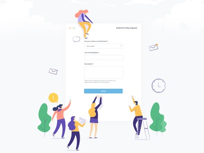 A help Request Page ux web website support  template search  setting profile user ui email conversation mail  customer clean minimal client attachment graph statistic request help need a help page contant us submit passionate message white sky