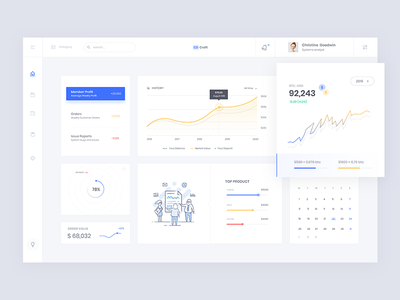 CD Web App Dashboard designe product ui design ux black animate cryptocurrency notification admin search circle calender progress illustration rate blue yellow bitcoin usd price cd white chart dashboard web app