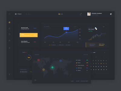 Night Release dashboard night dashboard web app cd white chart bitcoin usd price illustration rate blue yellow circle calender progress notification admin search black animate cryptocurrency ui design ux product designe