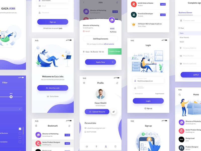 Jobs App android company app concept checkbox select splashscreen bookmark search filter systembar lognin signup upload white smooth design app application desktop clean jobs blue illustraion mobile app color ux ui