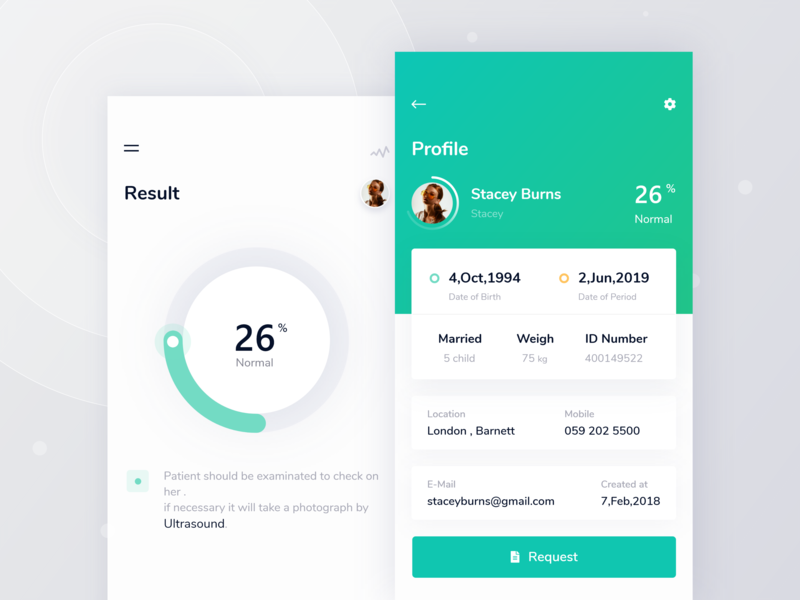 Profile & Result - Breast cancer breast cancer date time id weigh chart profile settings result green mobile app illustration android ios typography design product app application desktop white smooth ux color ui