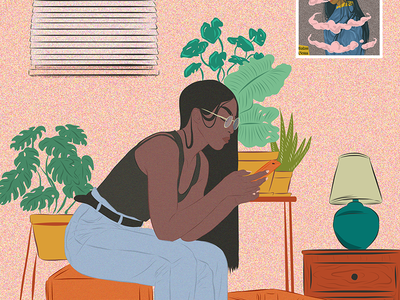 Editorial woman afro black fashion plant melanin mobile poster illustration