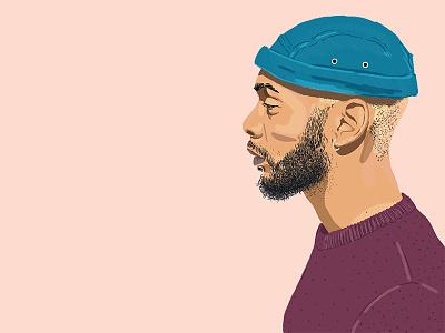 Tony people design digital portrait african man black character afro poster fashion melanin illustration