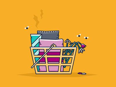 Abandoned shopping basket basket illustrator vector illustration shopping