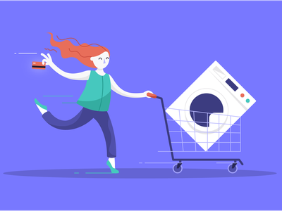 Buy now pay later shopping running credit card trolley illustrator vector illustration