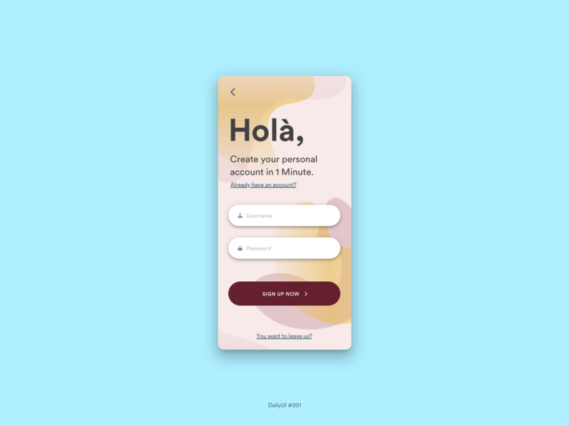 Sign up - dailyui #001 dailyui sign up