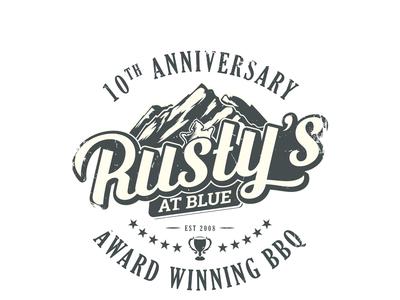 Rustys anniversary meat food hand-drawn vintage rustic rusty logo emblem bbq