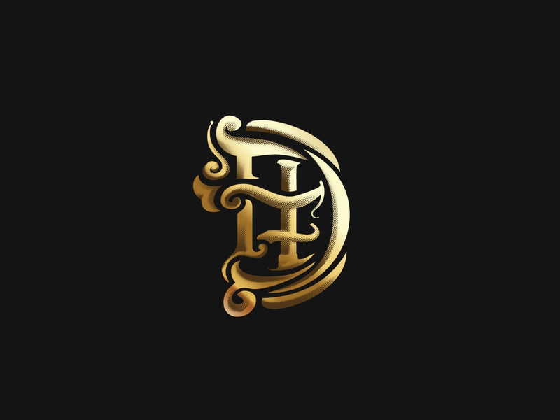 DHF unique handmade logo monogram ornaments gold tipography
