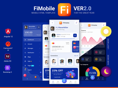 FiMobile Mobile HTML template Bootstrap5 Framework7 Angular 12 angular 12 framework7 bootstrap 5 mobile site website mobile app design ux ui app html 5