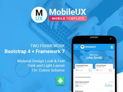 MobileUX ~ Multipurpose HTML template html 5 ios application android app framework 7 bootstrap 4 framework7 web app ux typography design logo