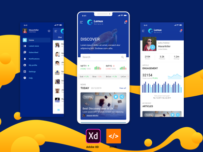 Lemux News and Magazine mobile application ux framework7 mobile app development mobile app android app bootstrap 4 ui design app html 5