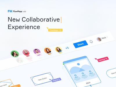 FlowMapp 2.0 New Collaborative Experience research app ui saas startup collaboration user flow design ux flowmapp sitemap