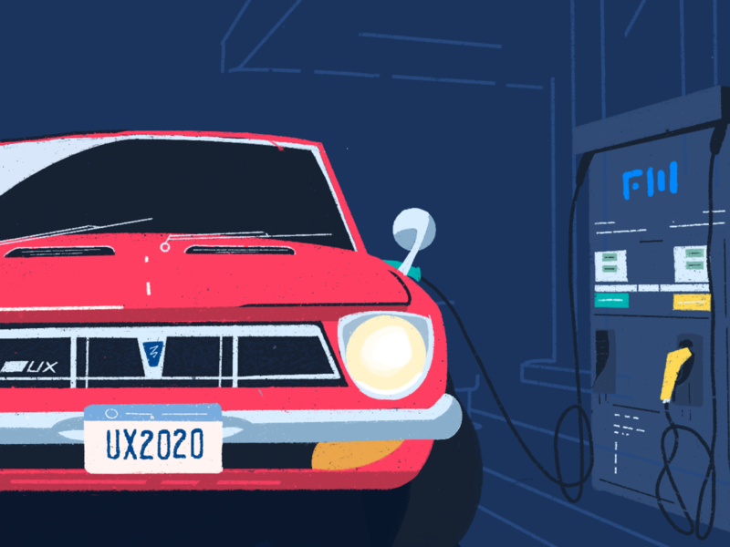 Top trends in UX patterns and methods in 2020 colors noir neo station gas auto retro illustration flowmapp design ux
