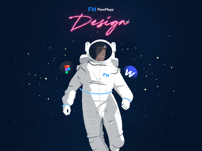 FlowMapp Design astronaut 80s neon space character illustration app flowmapp design ux