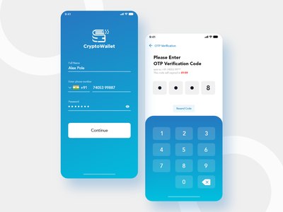 Crypto Wallet App Login UI login screen crypto exchange cryptocurrency design color ux ui app ios android