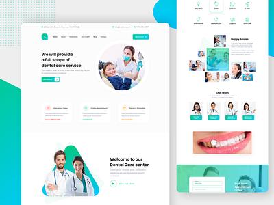 Dental Health Landing Page UI uidesign design ux ui latest web ui dental website design doctor care health dental care dental