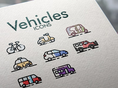 Vehicles Iconset design web ios android app icons