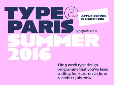 typeparis16 – apply before 15 March 2016