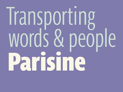 Parisine transport words and people font typeface pro opentype 1996 bold narrow compress parisine