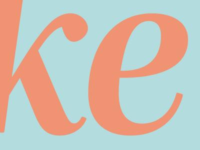 Mencken Pro Subhead Demi Italic: k + e