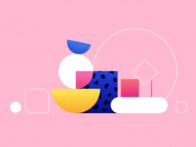 Still life composition composition still life blue geometry flat concept vector design shapes pink colors texture illustration
