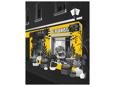 Madrid streets blackandwhite street night yellow store flowershop plantshop flowers illustration concept flat texture illustraion