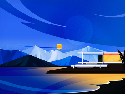 Nights in Malaga✨ house midcentury midcenturymodern sunset mountains architecture landscape geometry shapes blue vector concept flat colors texture illustration