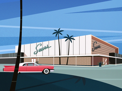 Sears, mid-century modern palms shop landscape architecture midcentury midcenturymodern cadillac sears art vector blue colors texture illustration