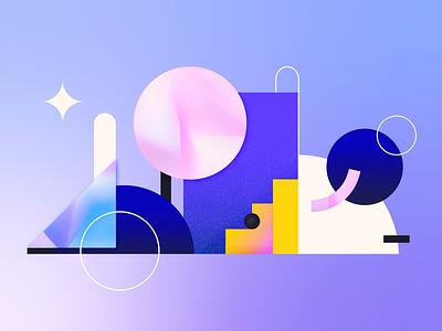Geometry magic geometry pink art shapes blue concept flat colors texture illustration