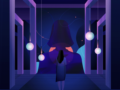 Room with the memories memories portrait violet brutalism room women art blue vector concept texture illustration
