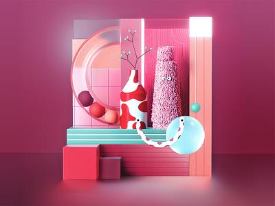 👀Life around us vase graphic design eyes 3d stillife pink design vector concept colors texture illustration