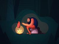Forest man illustration