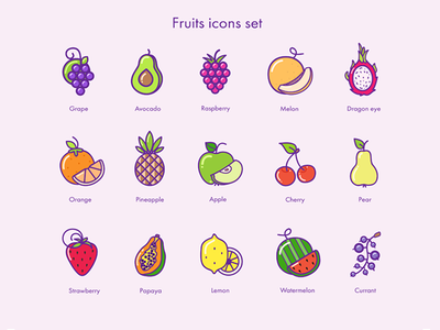 Fruit's Icons colors icons flat illustration