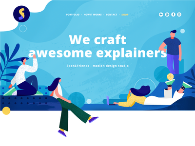 🌼Spor&Friends header illustration header image header illustration flat branding vector design blue concept character colors texture illustration