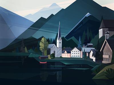 Inspiring Austria landscapes mountains church green landscape illustration landscape vector blue concept flat colors texture illustration