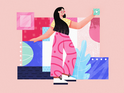 Рink 💕polymorphism art summer blue girly geometry girl shapes pink vector character concept flat colors texture illustration
