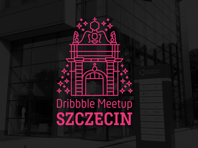Dribbble Meetup Szczecin line art logo illustration pink minimal flat event meetup dribbble