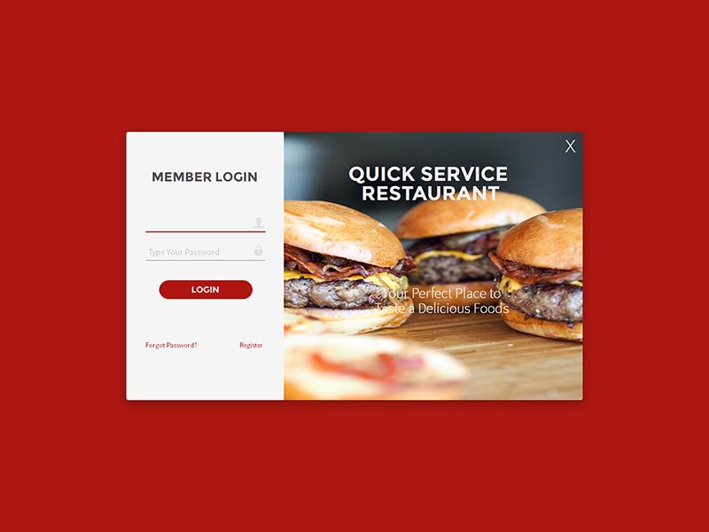 Modern Flat UI Login Form of Fast Food Restaurant App restaurant drink app desktop food red design ui flat modern