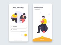 Modern Learning App Login Screen UI Design